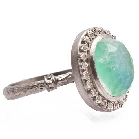 Armenta Oval Chrysoprase & Moonstone Silver Ring with Diamonds from New World Collection