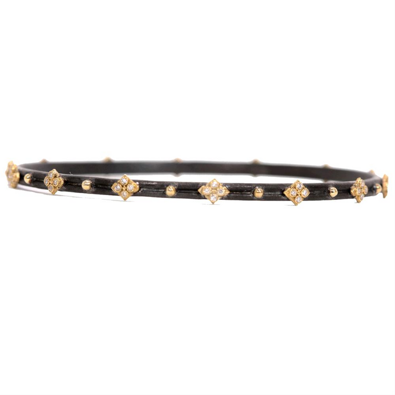 Armenta Midnight Oxidized Silver & Yellow Gold Diamond Bangle Bracelet