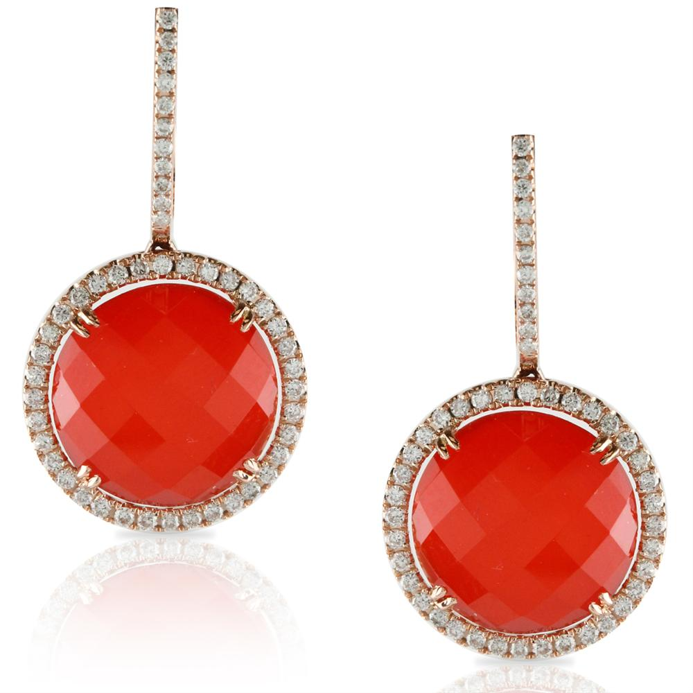 "Doves ""Crimson Couture"" Red Carnelian & Diamond Round Rose Gold Earrings"