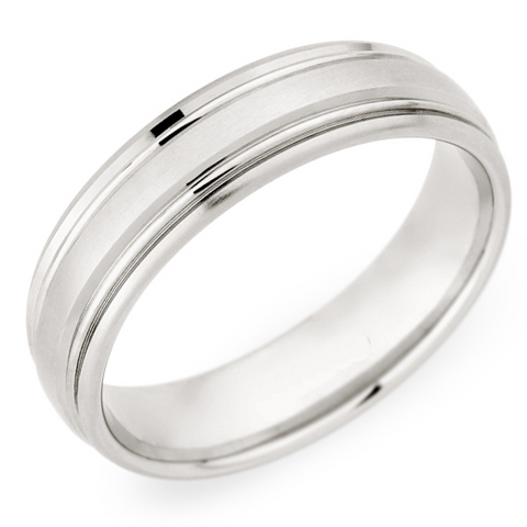 Christian Bauer Men's 18K White Gold 6mm Brushed Wedding Band Ring