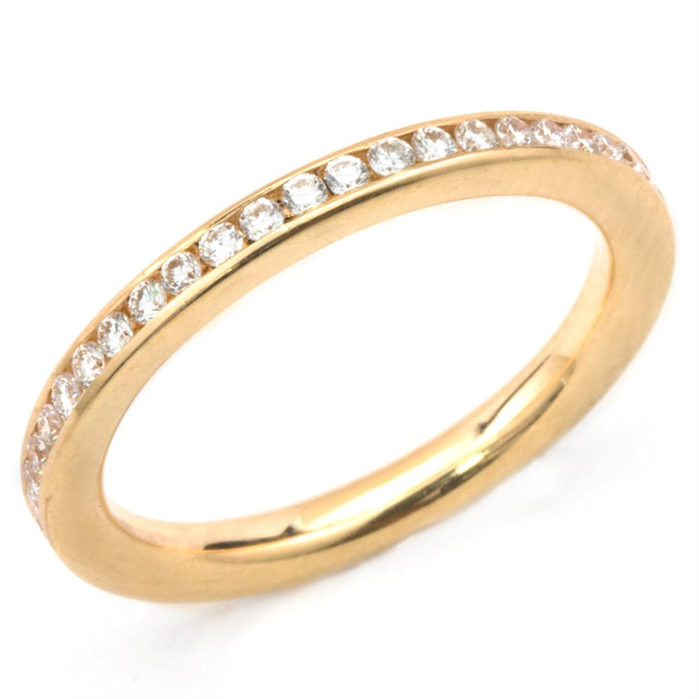Round Diamond Channel Set Eternity Band Anniversary Ring 18K Yellow Gold
