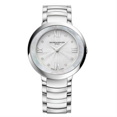 Baume & Mercier Promesse Ladies Steel Mother of Pearl Bezel Quartz Watch 34mm 10178