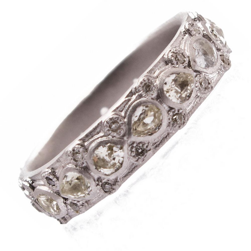 Armenta Lacy Eternity Stackable Silver Ring with Sapphires & Diamonds 08733