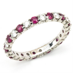 Ruby & Diamond Eternity Wedding Band Anniversary Ring 18K
