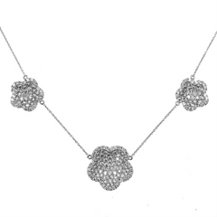 Doves Diamond Triple Clover Flower Cup White Gold Necklace 18K