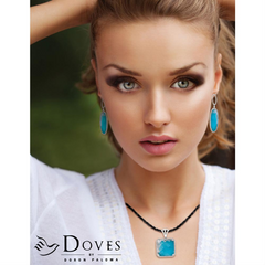 "Doves ""St. Barth's Blue"" Horizontal Turquoise & White Topaz Pendant Necklace with Diamonds"