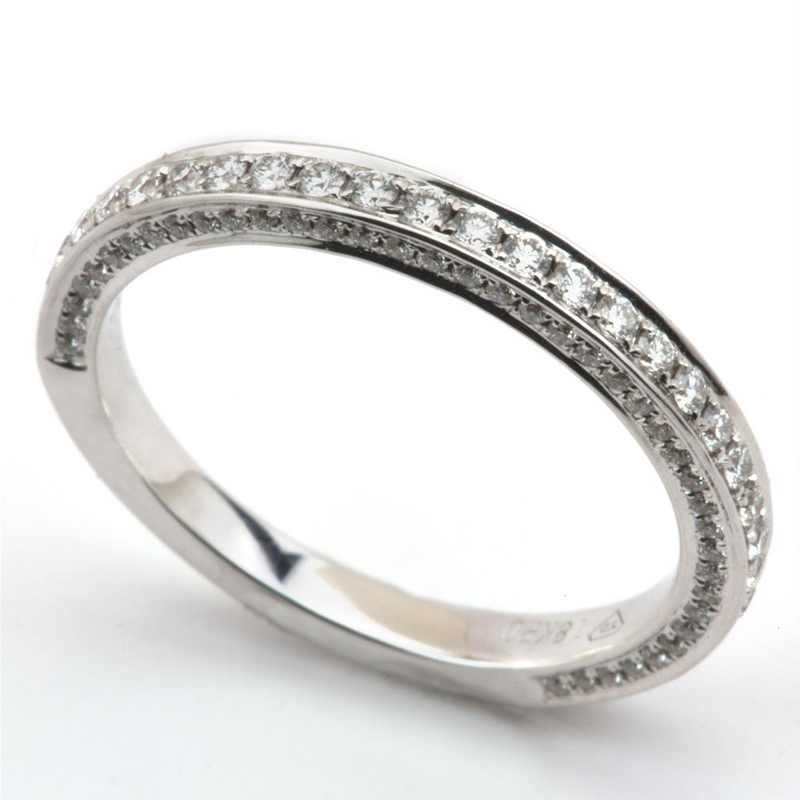 Pave Diamond Three Sided Wedding Band Ring 18K .50 Carat