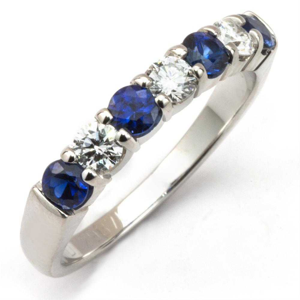 Sapphire & Diamond Prong Set White Gold Wedding Band Ring 14K