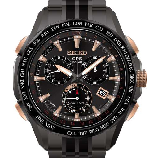 Seiko Astron GPS Black Titanium & Rose Gold Limited Edition Resort Solar Watch SSE019