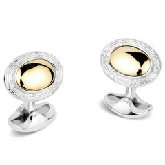Deakin & Francis Oval Reed & Ribbon Edge 18K Yellow Gold & Silver Cufflinks