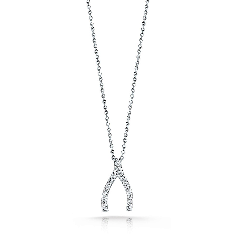 Roberto Coin Tiny Treasures Wishbone Necklace with Diamonds