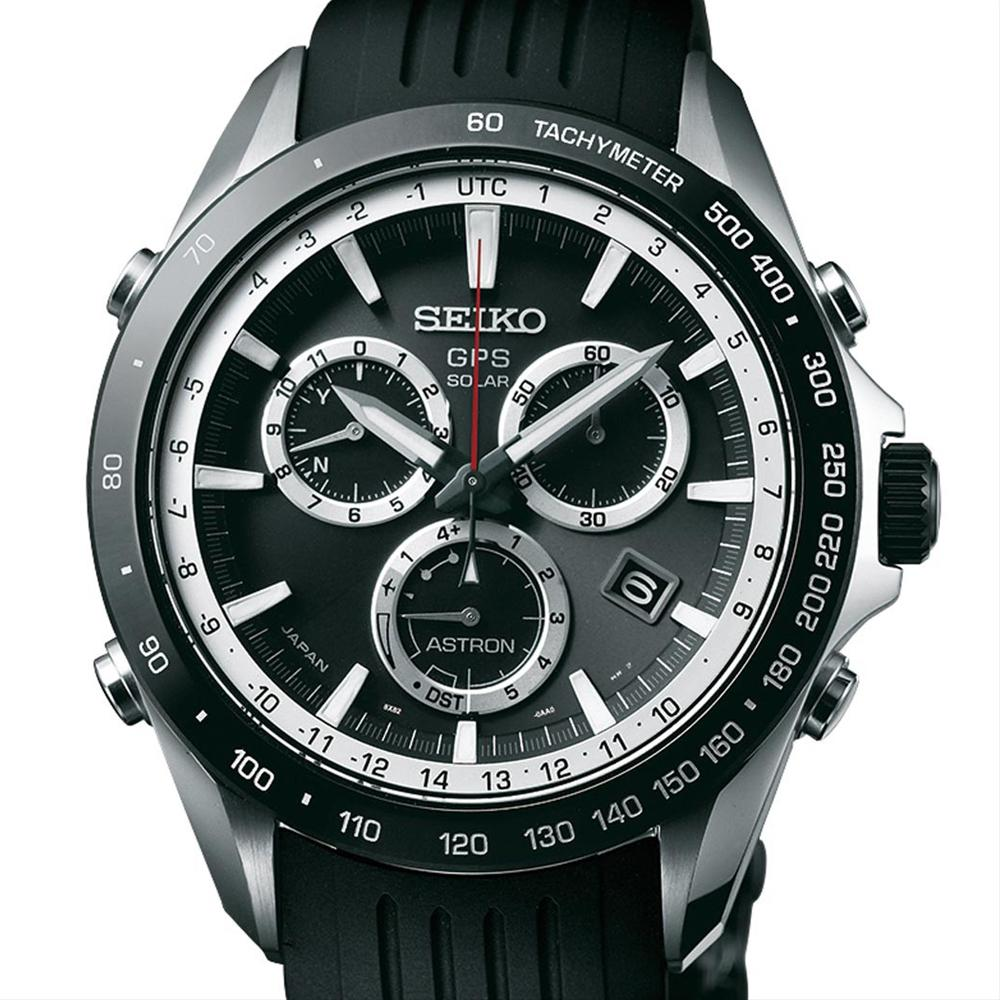Seiko Astron Solar GPS Ceramic Black Stainless White 44.6mm Chronograph Watch SSE015