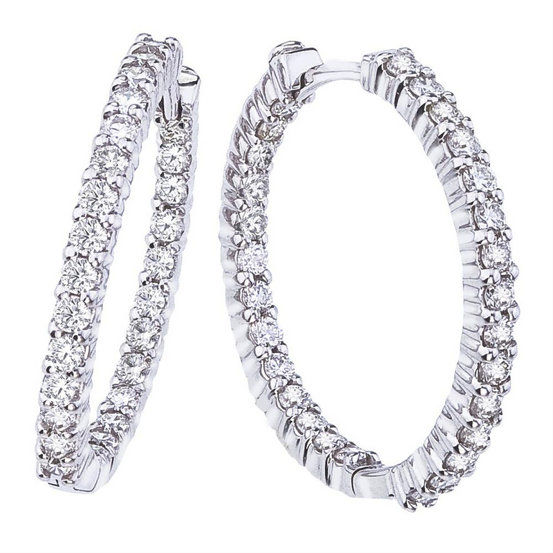 Roberto Coin 25mm Small Diamond Hoop Earrings 18K White Gold