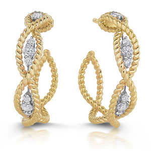 Roberto Coin Barocco 18K Yellow and White Gold Diamond Hoop Earrings