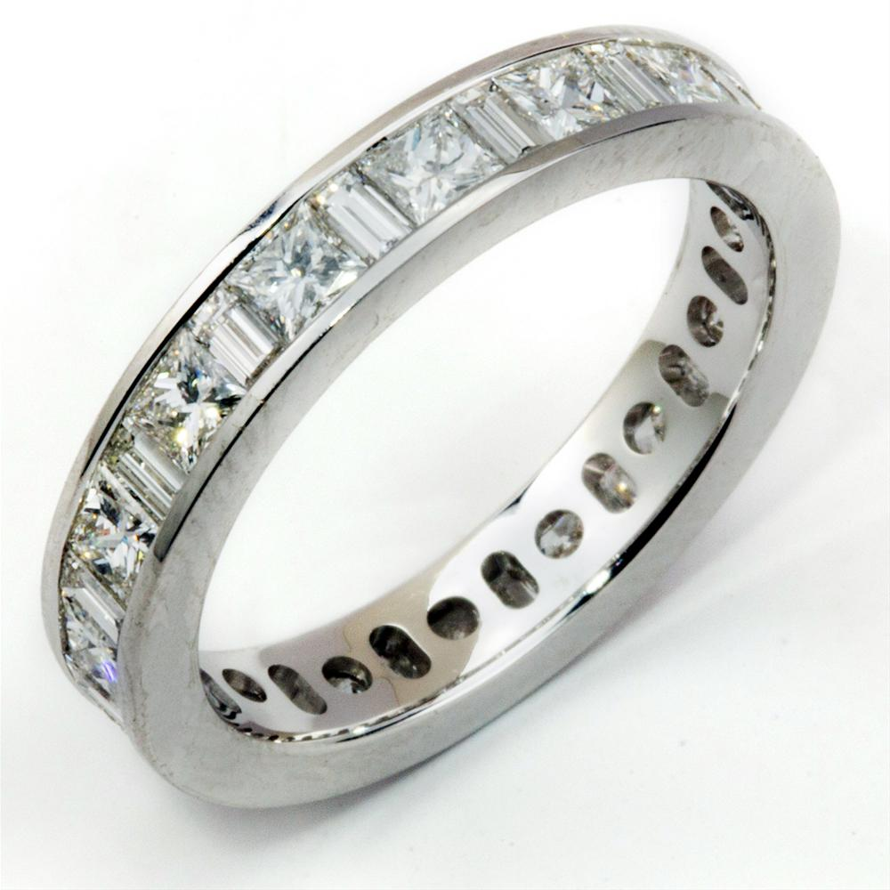 Princess & Baguette Diamond Alternating Eternity Channel Set Platinum Wedding Anniversary Band Ring