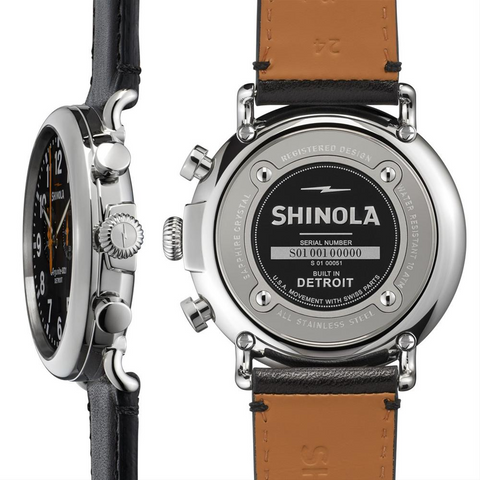 Shinola Runwell Black Dial Chronograph with Orange Accents 47mm Men's Watch S0100051
