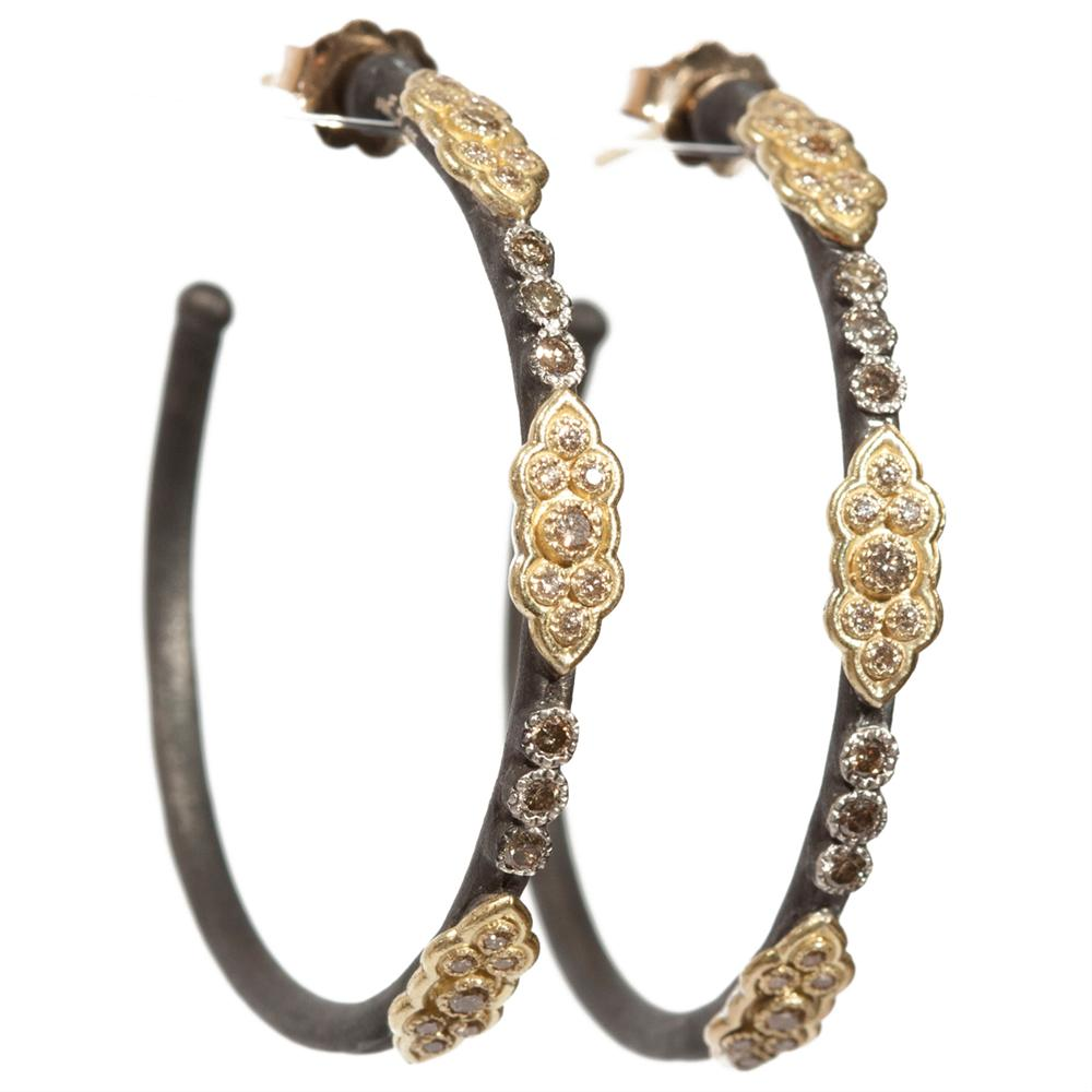 Armenta Old World 18 Karat Yellow Gold & Oxidized Sterling Silver Champagne Diamond Hoop Earrings E3951
