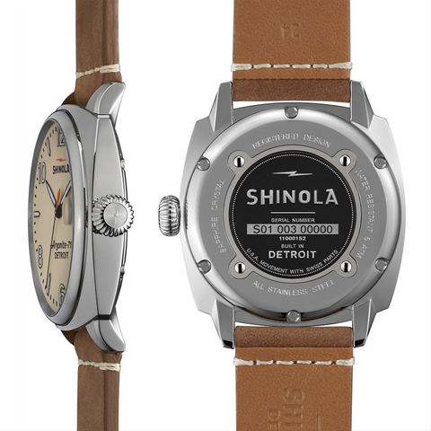 Shinola Brakeman 46mm Cream Dial Oatmeal Brown Leather Men's Watch S0110000152