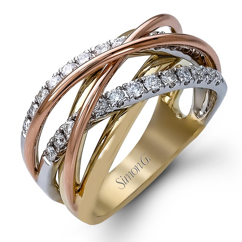 Simon G. Fabled Tri-color Yellow, White, Rose Gold Diamond Crossover Ring MR1854