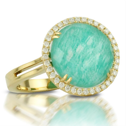 Doves White Topaz Amazonite Round Doublet Diamond Halo Ring