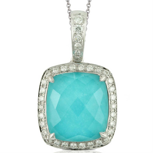 "Doves ""St. Barth's Blue"" Turquoise & Diamond White Gold Pendant Necklace"