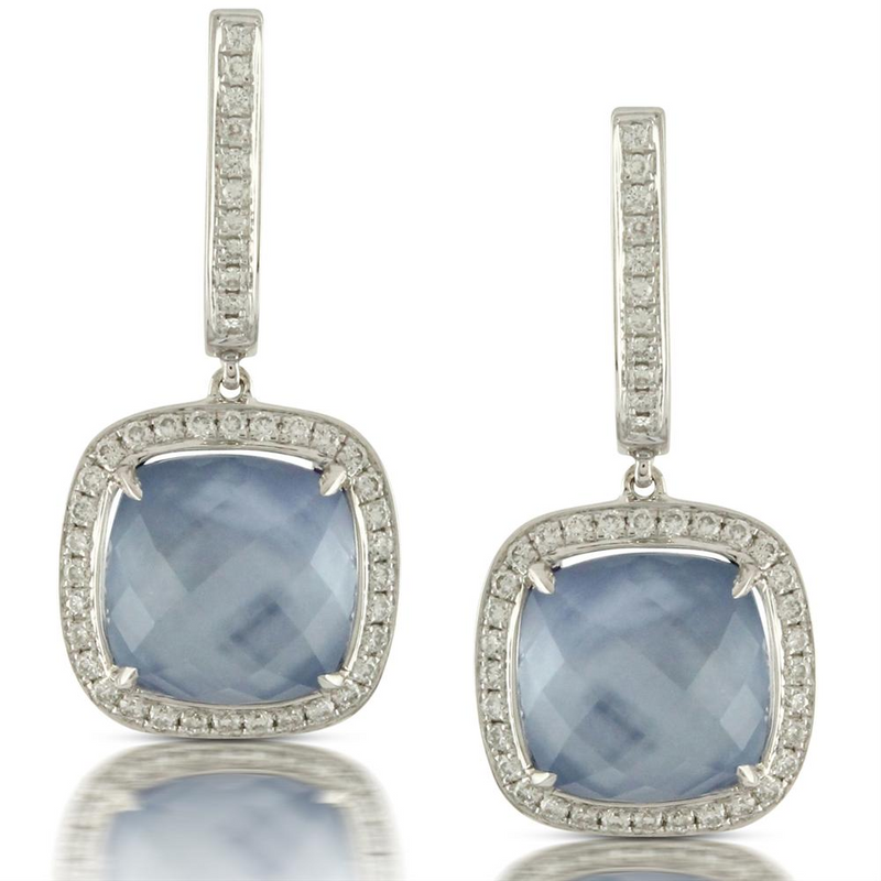 "Doves ""Ivory Sky"" Blue Lapis, Mother of Pearl, & Diamond Cushion Shaped Earrings by Doron Paloma"