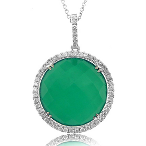 "Doves Green Agate & Diamond ""Emerald Dreams"" Round Pendant Necklace"