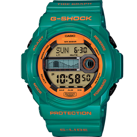 Casio G-Shock G-Lide Green & Orange Digital Watch GLX150B-3