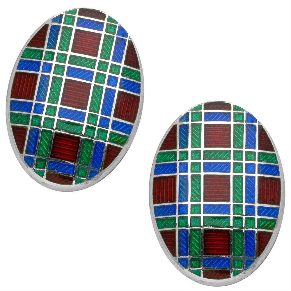 Deakin & Francis Oval Royal Blue, Green, Maroon Plaid Enamel Sterling Silver Cufflinks