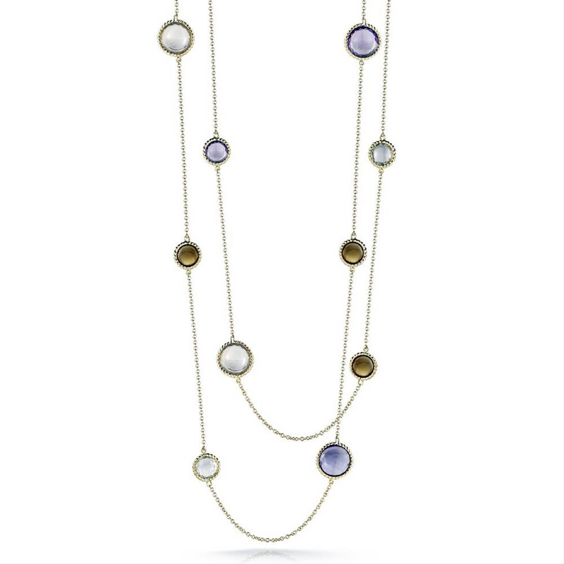 "Roberto Coin Ipanema Citrine, Lemon & Smoky Quartz, Violet & Green Amethyst 39"" Long Necklace"