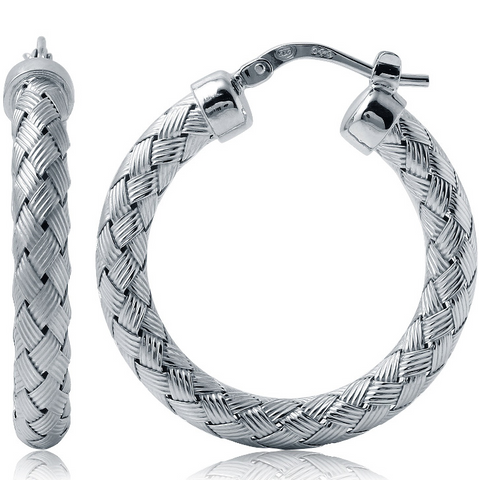 Charles Garnier 30mm Roud Hoop Earrings in Sterling Silver