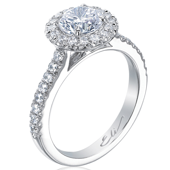 Beignet Round Halo Diamond Platinum Engagement Ring