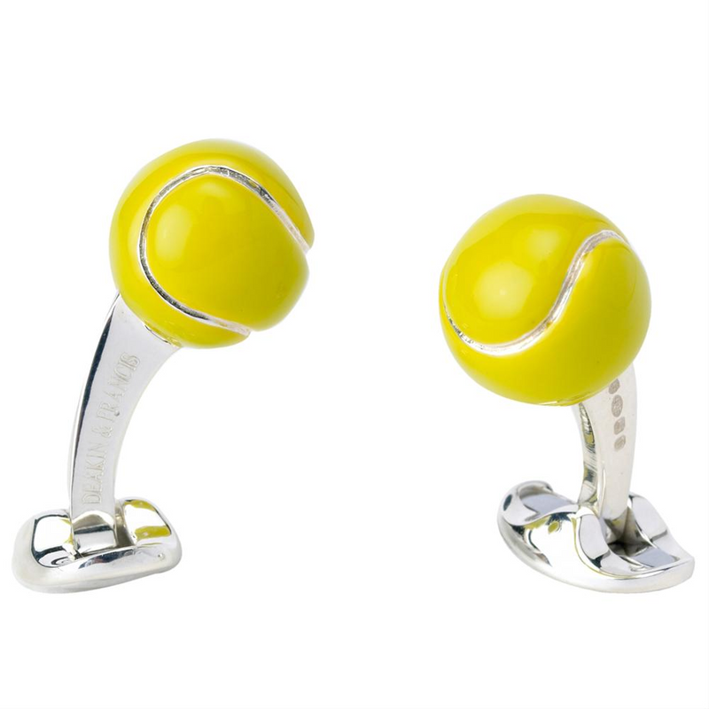 Deakin & Francis Silver Tennis Ball Cufflinks Yellow
