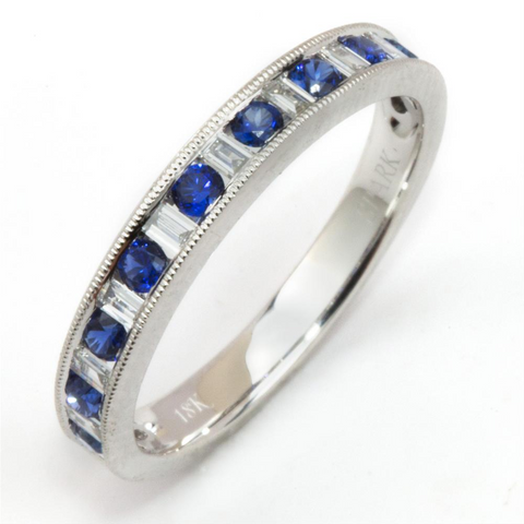 Sapphire & Diamond Baguette Channel Set Wedding Band Ring 18K White Gold