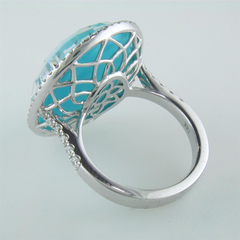 "Doves ""St. Barths"" Blue Turquoise, White Topaz, & Diamond Halo White Gold Blue Oval Ring"