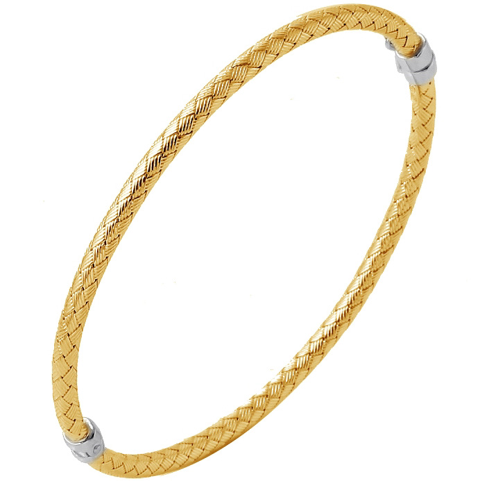 Charles Garnier Sterling Silver 3mm Cantania Mesh Bangle Bracelet With an 18K Yellow Gold Finish