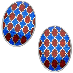Deakin & Francis Royal Blue and Maroon Enamel Sterling Silver Cufflinks