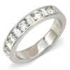 Round & Baguette Diamond Alternating Channel Set 18K Wedding Band Ring