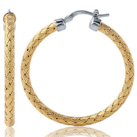 Charles Garnier 55mm Sterling Silver Milan Mesh Hoop Earrings With an 18k Yellow Gold Finish