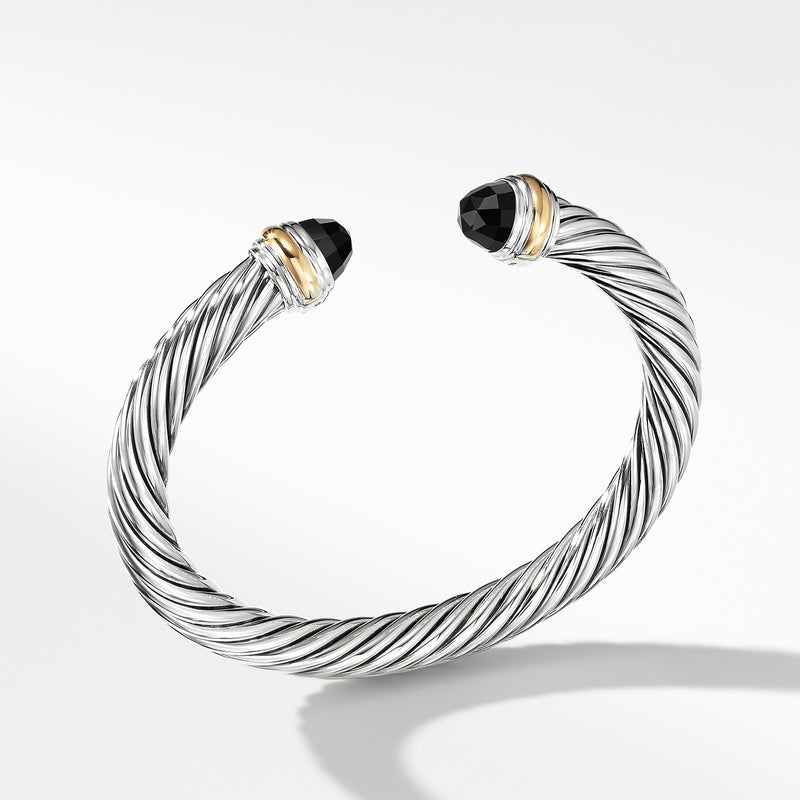7MM Cable Bracelet with Black Onyx and 14K Gold