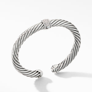 7MM Cable Cuff Classic Center Station Bracelet with Pave Diamonds