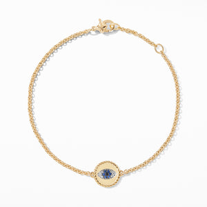 Evil Eye Charm Bracelet with Blue Sapphire, Diamonds and Black Diamonds in Gold