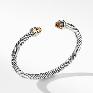 5MM Cable Classic Bracelet with Citrine and Gold