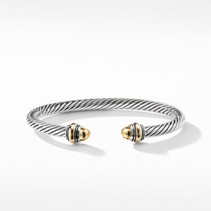 5MM Cable Classic Bracelet with Gold Domes