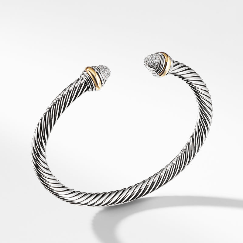 5MM Cable Classics Bracelet with Diamonds and Gold