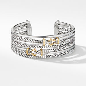 Buckle Crossover Cuff Bracelet with 18K Yellow Gold 22MM