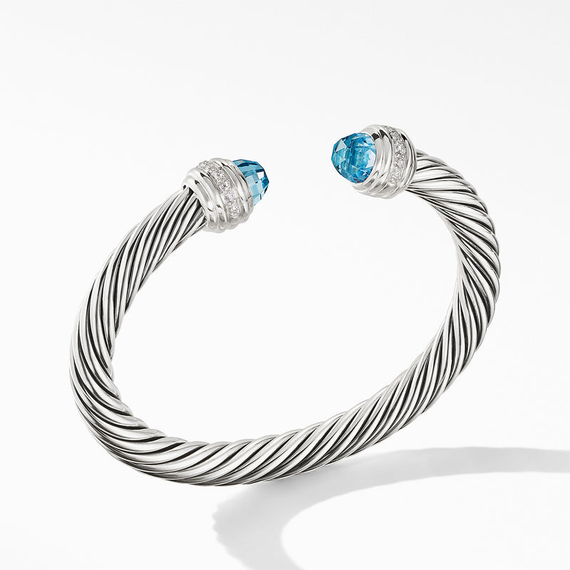 7MM Cable Bracelet with Blue Topaz and Diamonds