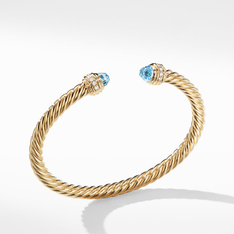 5MM Cable Bracelet in 18K Gold with Blue Topaz and Diamonds