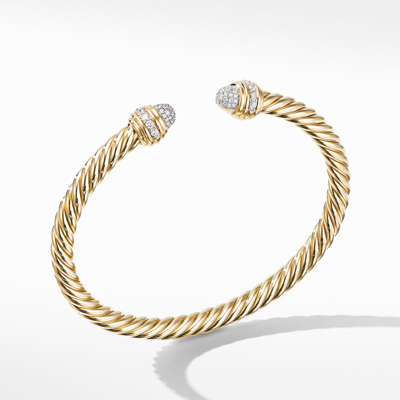 5MM Cable Bracelet in 18K Yellow with Diamonds
