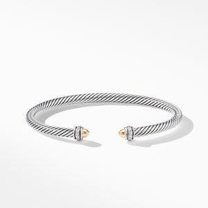 4MM Cable Classic Bracelet with 18K Yellow Gold Domes and Diamonds